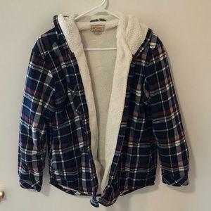 Boston Traders Flannel Coat Fleece Lining Size XL